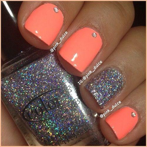 18 fantastic silver nail designs pretty designs glittering orange and silver nail design prinsesfo Images