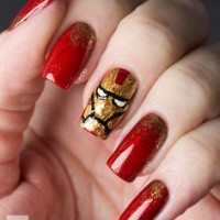 Glittering Red Iron Man Nails
