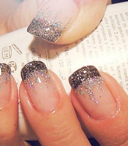 Glittering Waterfall French Manicure Design