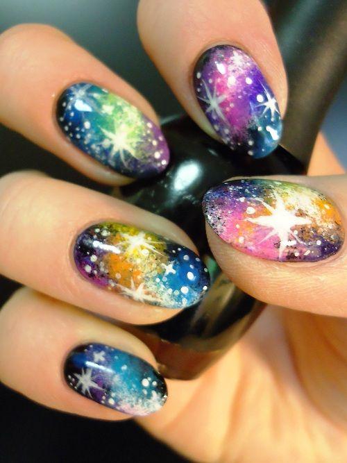 Glittery Rainbow Nail Art Design