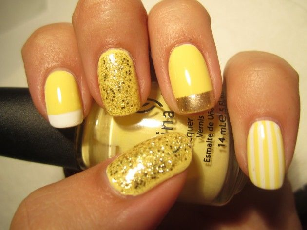 16 fabulous yellow nail art designs pretty designs gold and yellow nail design prinsesfo Image collections