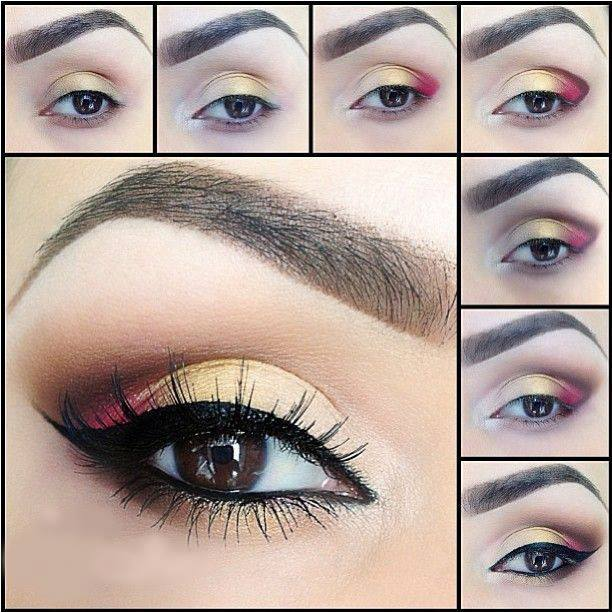 Golden and Red Eye Makeup Tutorial