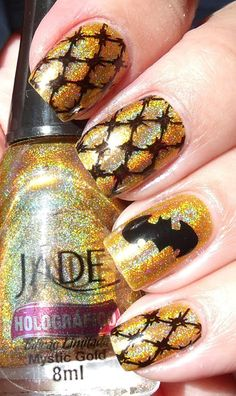 Golden Batman Nail Art Design