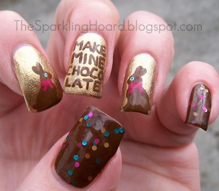 Golden Chocolate Nail Design