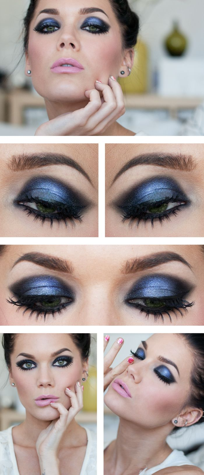Gorgeous Blue Smokey Eyes for Party Eye Makeup
