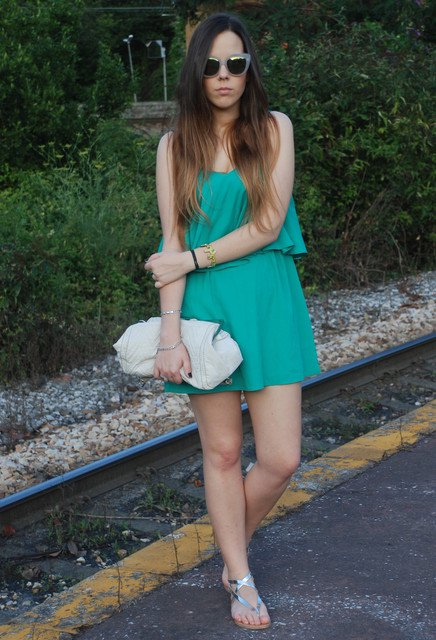 Green Dress Outfit Idea with Silver Shoes