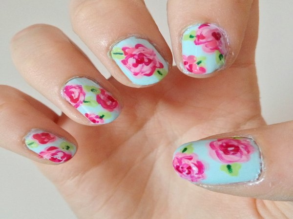 Green Nails With Pink Roses