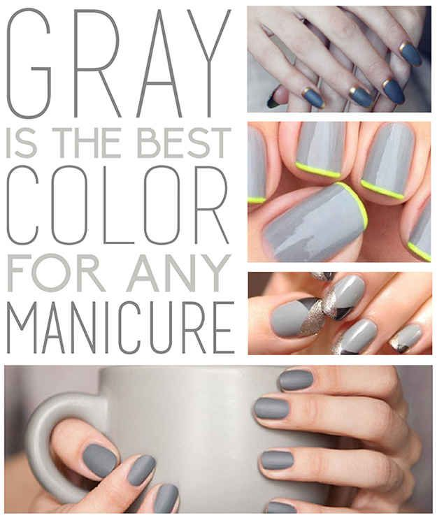 Grey Colored Nails
