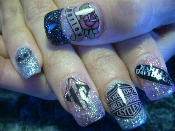 Sparkly Harley Davidson Nail Design for Clear Nails - 13 Ultra Cool Harley Davidson Nail Designs - Pretty Designs