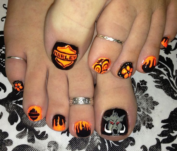 Harley Davidson for Toe Nail Designs - 13 Ultra Cool Harley Davidson Nail Designs - Pretty Designs
