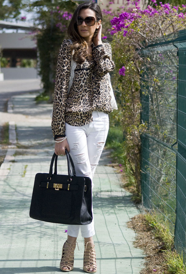 Leopard Printed Blouse with White Ripped Jeans