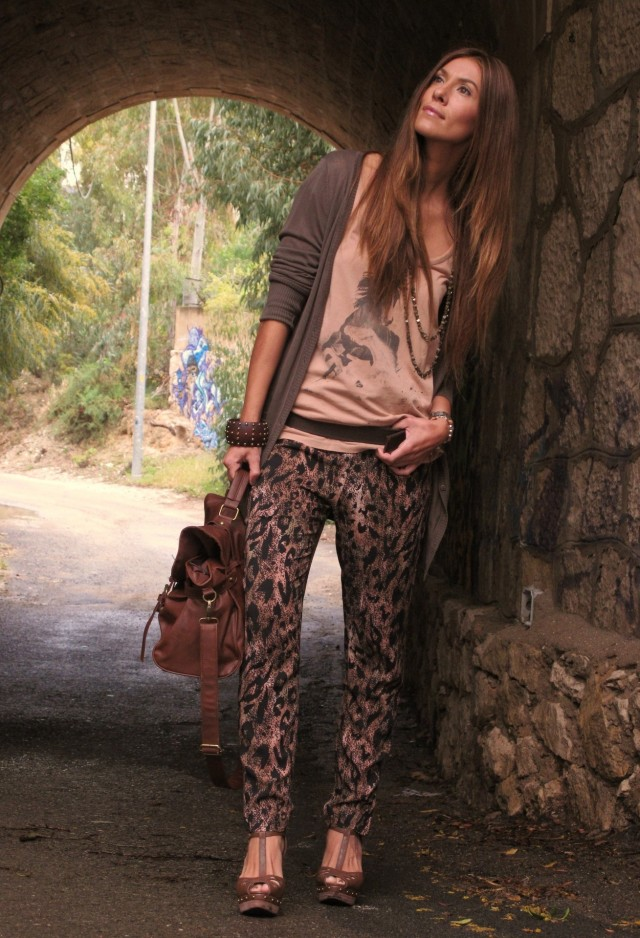 Leopard Printed Pants Outfit Idea