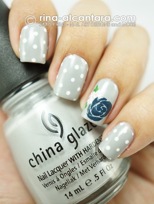 Light Blue Rose Nail Art Design