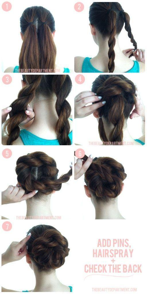 Lovely Double Braid Bun Hairstyle