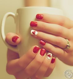 Lovely Heart Shaped Red Nails