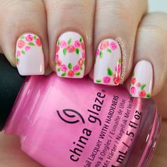 Lovely Light Pink Rose Nail Art Design