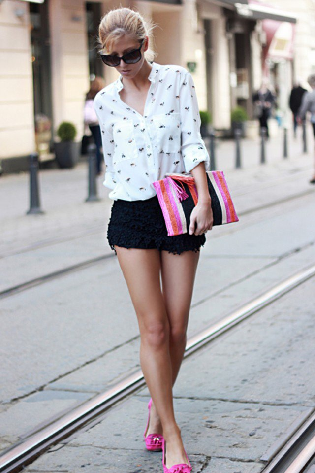 Lovely Printed Blouse with Black Crochet Shorts