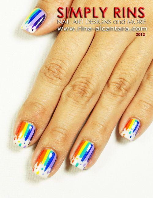 Lovely Rainbow Nail Art Design