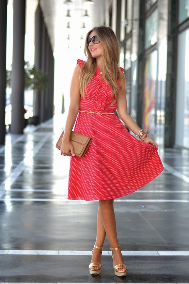 Lovely Red Polka Dotted Skirt