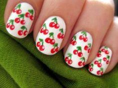 Lovely White Cherry Nail Design