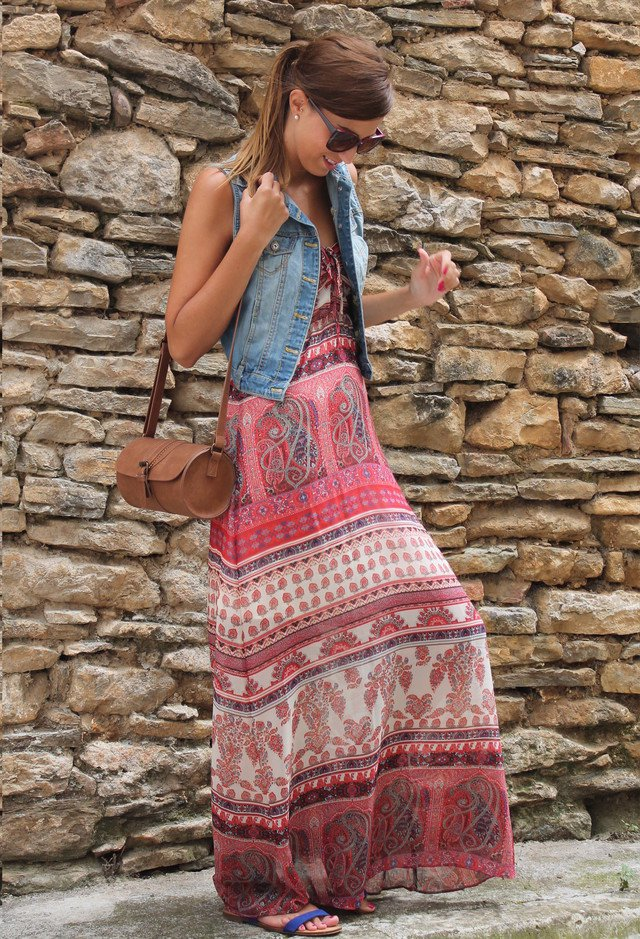 Maxi Dress Outfit with Denim Vest
