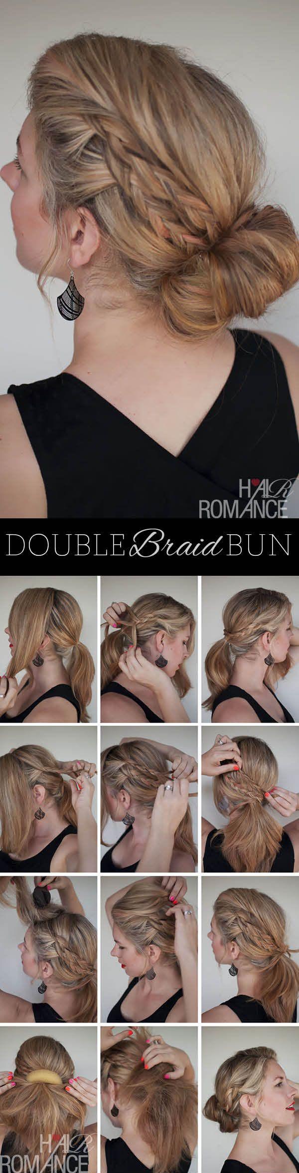 Messy Double Braid Bun Tutorial