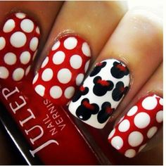 Mickey Mouse Nails With Polka Dots