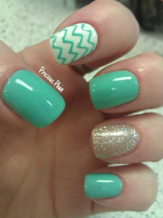 Mint Colored Nails