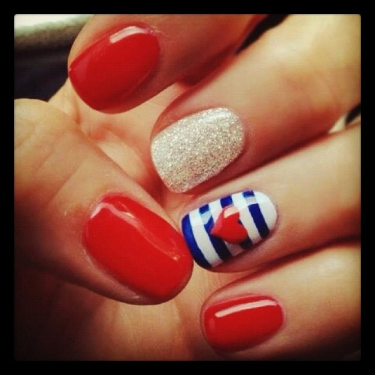 Nautical Red Nails