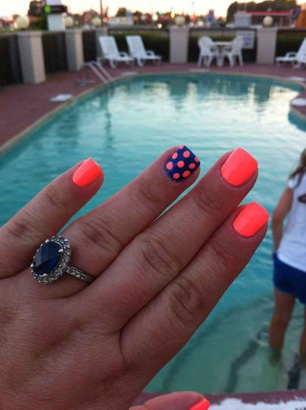 Neon Colored Nails With Polka Dots