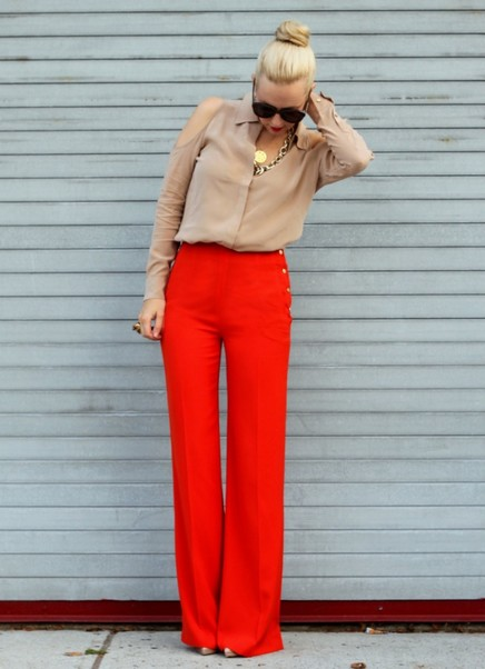 Neutral Blouse with Bright Colored Pants for Work