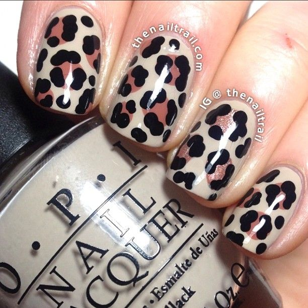 Nude Leopard Nail Art Design