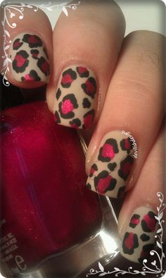 Nude and Red Leopard Nail Art Design