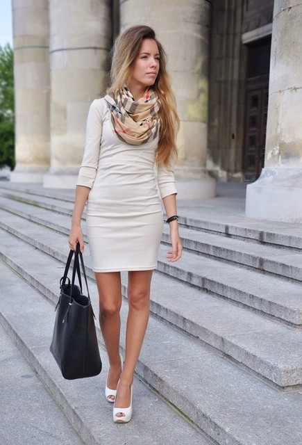 One Piece Beige Dress with Scarf for Work