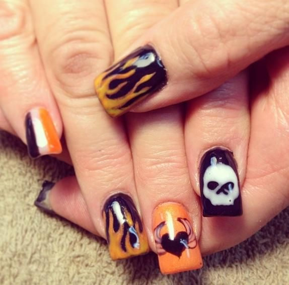 Orange Harley Davidson Nail Design - 13 Ultra Cool Harley Davidson Nail Designs - Pretty Designs