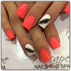 Orange Nail Design With Feathers