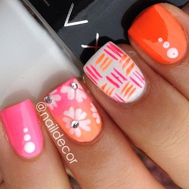 Orange Nail Design With Flowers