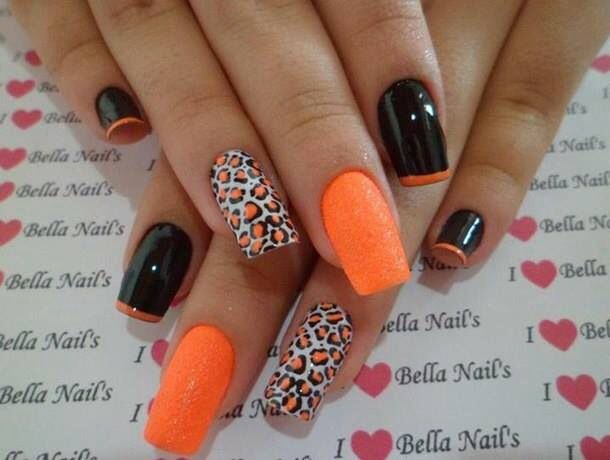 Orange Nail Design With Leopard Prints - 18 Pretty Orange Nail Designs -  Pretty Designs - Orange Nail Design Graham Reid