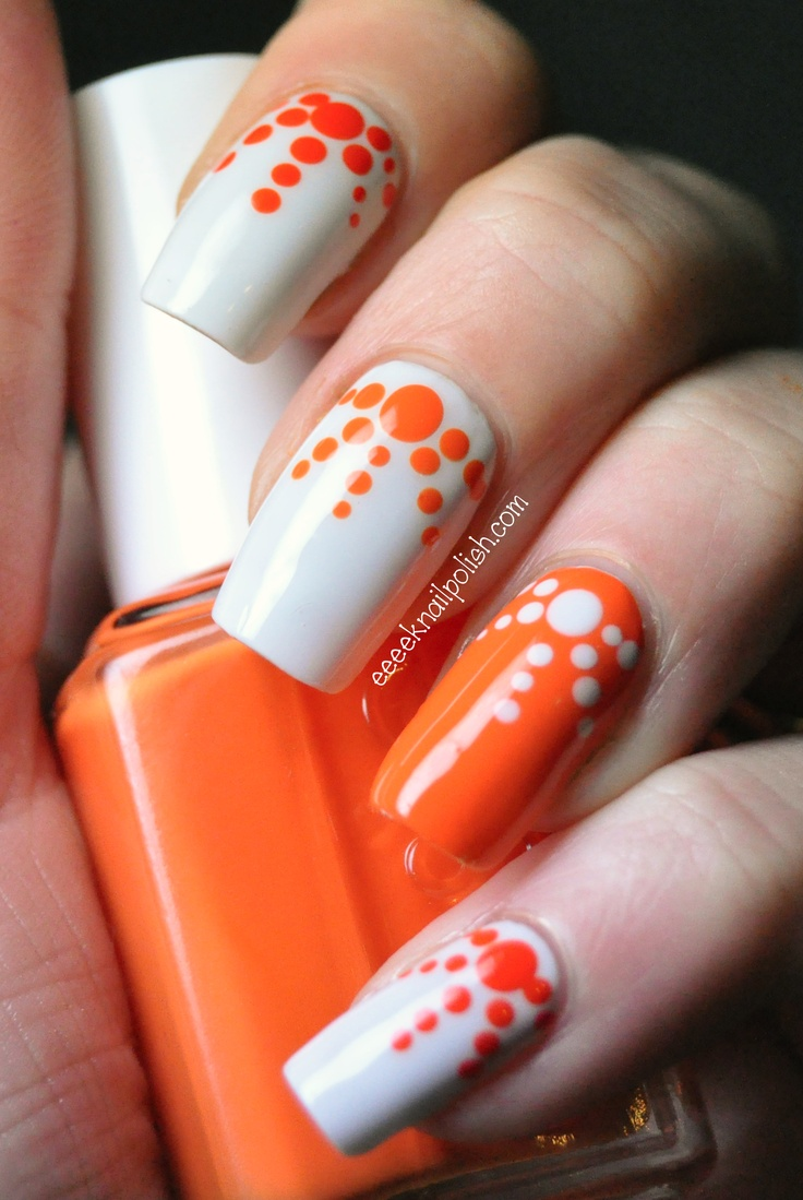 18 Pretty Orange Nail Designs - Pretty Designs
