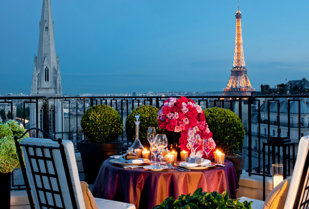 Outdoor Table: Candles and Flowers