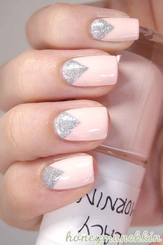 Pale Pink and Silver Nail Design - 18 Fantastic Silver Nail Designs - Pretty Designs