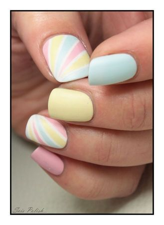 Pastel Colored Rainbow Nail Art Design