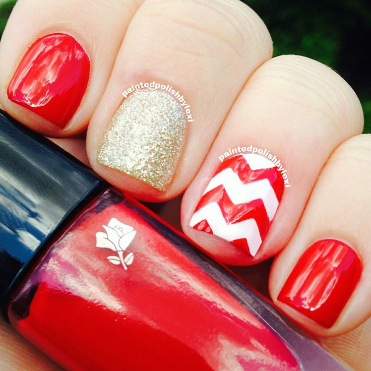 Patterned Red Nails - 16 Bloody Hot Red Nails For Women - Pretty Designs