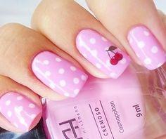 Pink Cherry Nail Design