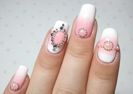 Pink Embellished Nail Design