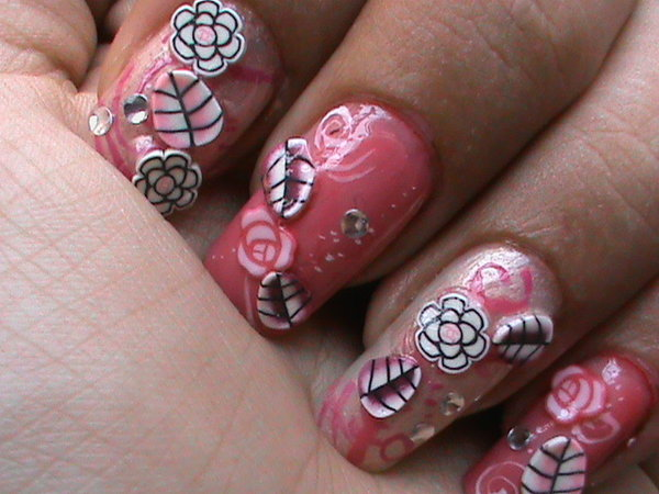 Pink Nails With Roses, Rhinestones, and Leaves