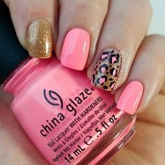 Pink and Gold Leopard Nail Art Design