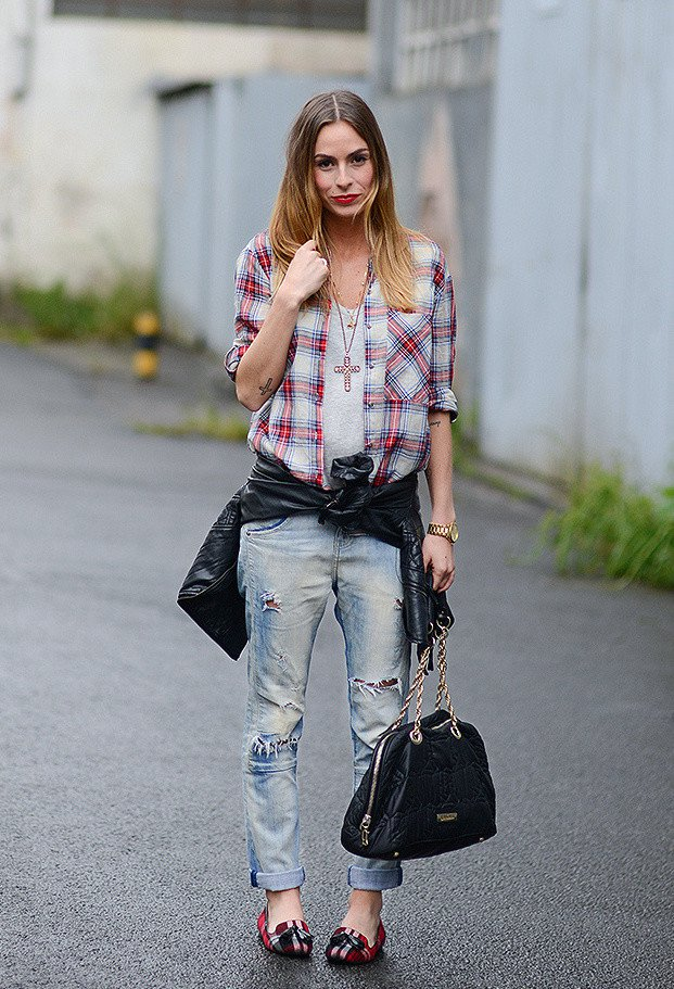 Plaid Shirt Outfit and Ripped Jeans