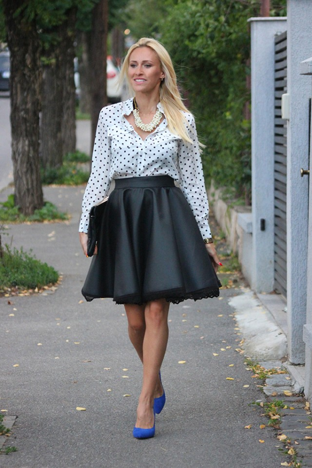 Polka Dotted Blouse with Black Skirt