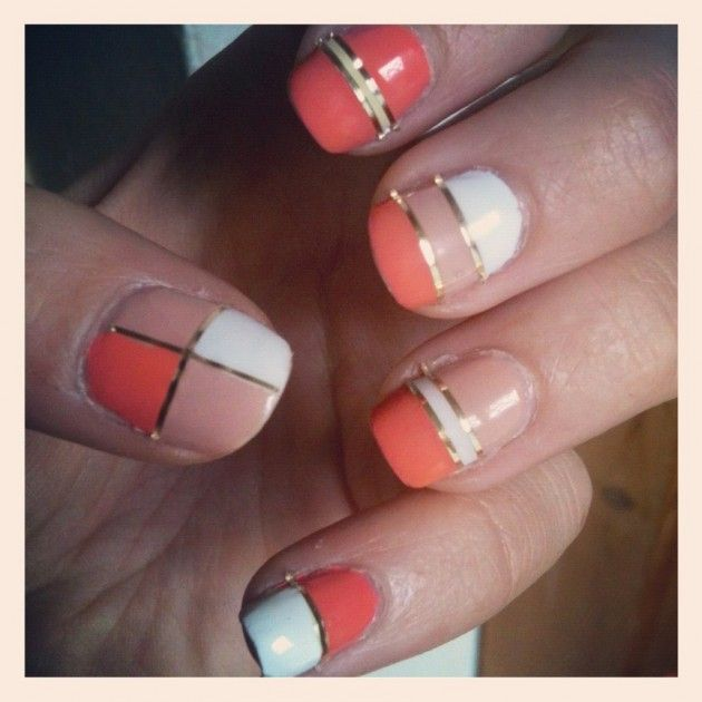 Nail Art Using Striping Tape: 10 Nail Designs To Try: Color Block Nails